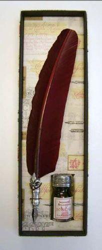 Burgundy Feather Quill Pen Ink Elegant Fleur de Lis Free Ins Shipping | eBay