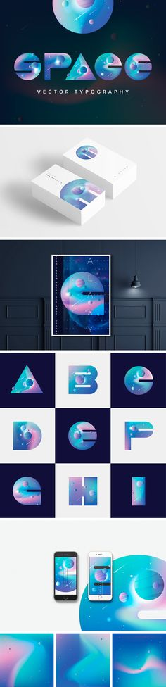 """Space Vector Typography"" by Diana Hlevnjak (Polar Vectors) Corporate Identity Design, Corporate Stationary, Branding Design, Logo Design, Visual Identity, Brand Identity, Packaging Design, Type Design, Web Design"