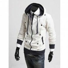 $24.26 Autumn/Winter New Style Slim Double Breasted Design Hooded Pure Color Blouse For Men