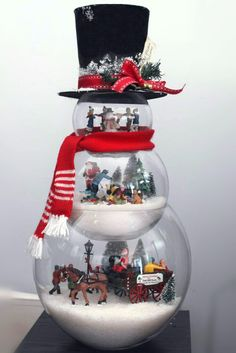 #DIY Fish bowl #snowman with frosty hat filled with lemax figurines #Christmas #Crafts