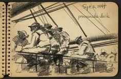 Victor Alfred Lundy (1923-) - Promenade Deck, 1944 (WW II Sketchbook)