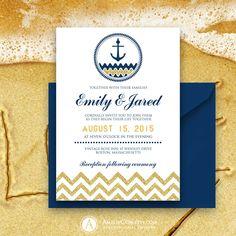 Printable Nautical Weddings Invitation Gold Chevron & by AmeliyCom