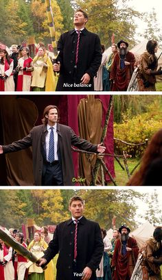 [gifset] Yeah no, there's no geek in you at all Dean :D 8x11 LARP and The Real Girl #SPN #Dean #Sam