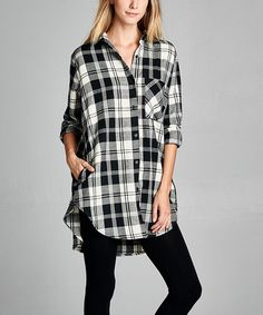 Another great find on #zulily! Black Plaid Button-Up Tunic #zulilyfinds