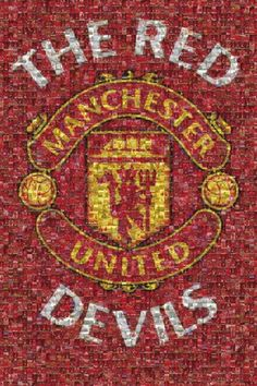 """A great Manchester United FC poster! A """"photomosaic"""" of tiny images creates the Red Devils soccer team logo. Need Poster Mounts. Manchester United Gifts, Manchester United Wallpaper, Manchester United Football, Premier League, Soccer Poster, Man United, Memphis, Poster Prints, The Unit"""
