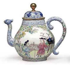 """A European subject """"Canton enamel"""" teapot and cover, 18th century. Photo: Christie's Images Ltd., 2010    One side with European gentleman and his attendant, a lady in pink cloak on the other, a putto by her side, the curving spout with bird-head tip; 7 in. (17.7 cm.) high (2) - Estimate 5,000 - 7,000"""