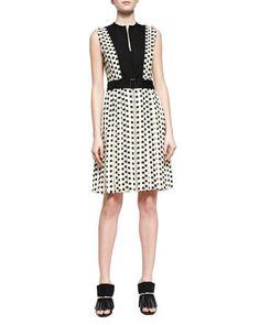 Square-Dotted Fil Coupe Slit Dress, Ecru/Black by Proenza Schouler at Bergdorf Goodman.