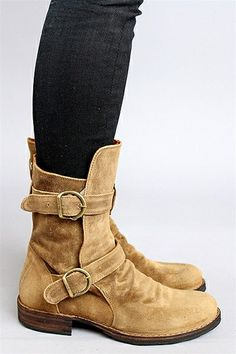 Wear these boots now with denim + later with shorts. The color goes with everything. Shop the Fiorentini + Baker Tabacco Suede 713 Two Buckle Boot at Rosie True. #spring #boots #need