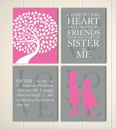 Girls bedroom wall art, sisters, sisters wall art, siblings art, shared room wall art, playroom decor, set of 4 by PicabooArtStudio, $28.00