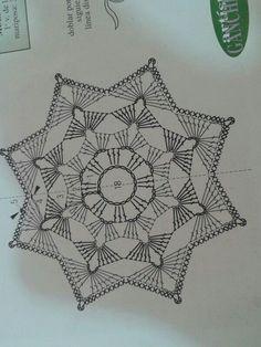 unit flower illustration - Her Crochet Motif Mandala Crochet, Crochet Snowflake Pattern, Crochet Stars, Crochet Snowflakes, Crochet Stitches Patterns, Crochet Designs, Beau Crochet, Crochet Diy, Crochet Round