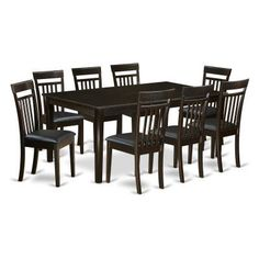 East West Furniture Henley 9 Piece Extension Dining Table Set With Capri Chairs Heca9 Cap Lc