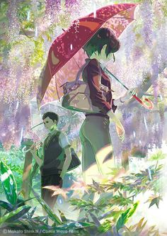 """The Garden of Words"" (Japanese: 言の葉の庭 Hepburn: Kotonoha no Niwa) is a 2013 Japanese anime drama film written, directed and edited by Makoto Shinkai, animated by CoMix Wave Films and distributed by Toho. Manga Anime, Film Anime, Art Anime, Anime Kunst, Anime Artwork, Makoto Shinkai Movies, She And Her Cat, Bakemono No Ko, The Garden Of Words"