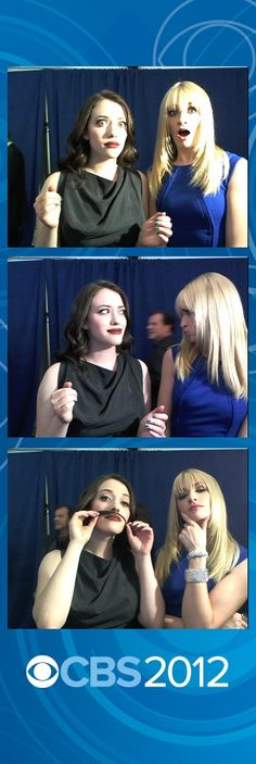 2 BROKE GIRLS Kat Dennings and Beth Behrs strike a pose on the red carpet at 2012 CBS Upfront.