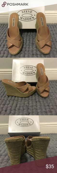 Nude espadrilles wedges lightly used wedges. really cute :) Steve Madden Shoes Wedges