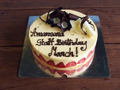 Fraisier birthday cake by Bayon Pastry School for Amansara Hotel in Siem Reap, Cambodia.