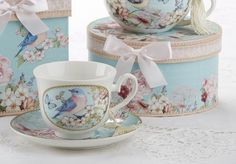 Gift Boxed Teacup and Saucer - Blue Bird