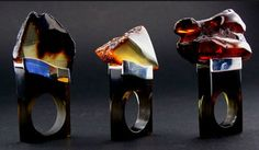 Rings | Eugeniusz Salwierz ~ designs and produces exclusive jewellery connecting amber with silver, acryl glass, and half-precious stones