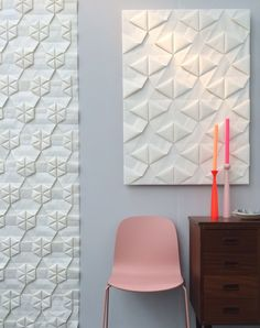 At London design week I took this picture of this wallcovering handmade by Tracey Tubb - Origami Wallpaper Design Hotel, Origami, Room Inspiration, Interior Inspiration, London Design Week, Acoustic Wall, Interior Decorating, Interior Design, Home Wallpaper