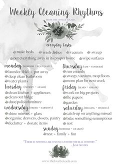 Weekly Cleaning Rhythms from thelovelycicada.com | Free printable. Find the perfect cleaning schedule that suits your beautiful home.