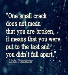 One small Crack doesn't mean that you are broken. It means that you were put to test and you didn't fall apart. ~ Linda Paindexter