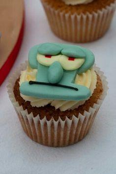 Squidward cupcake