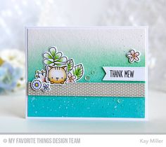 Thank Mew Card by Kay Miller featuring the Build-able Bouquet and Birdie Brown Cool Cat stamp sets and Die-namics, Mini Hexagon Background stamp, and thePierced Fishtail Flags STAX, and Blueprints 1 Die-namics #mftstamps