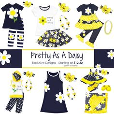 NEW Spring Pretty As A Daisy outfits starting at 0-6 months to size 10/12. We also have boy/girl sandals and a boy outfit. Shop now, limited pre-order ends soon and these will sell out fast...