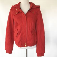 ANTHROPOLOGIE ALLIHOP RED COTTON BOMBER JACKET Zips and buttons. Hooded. Like new. Anthropologie Jackets & Coats