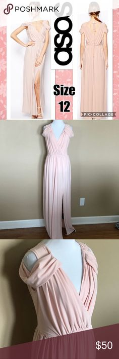 ASOS Blush Maxi Bridesmaid Dress Size 12 Wrap Front Maxi Dress with Cold shoulders. Blush Pink in Color. Great for bridesmaid, prom, or special event. Material is super soft and has give so can fit larger chest or even a pregnant belly. Has a slit for left leg and the upper part of the dress is lined (bottom is not lined). ASOS Dresses Wedding