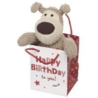 """BOOFLE IN A BAG """"HAPPY BIRTHDAY""""    Small Boofle Sitting in a Bag wth message: Happy Birthday to You! xxx"""
