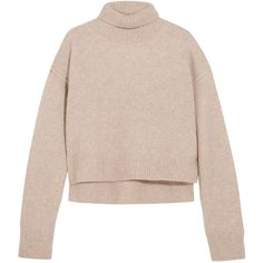 Rejina Pyo Lyn cropped cashmere turtleneck sweater ($655) ❤ liked on Polyvore featuring tops, sweaters, sweaters/cardigans, beige, cropped turtleneck, pink cropped sweater, turtleneck crop top, turtle neck crop top and pink crop top