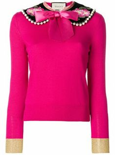 Gucci Peter Pan Collar Cashmere Sweater Pink Long Sleeve Tops, Long Sleeve Sweater, Blazers, Pink Sweater, Pattern Fashion, Cashmere Sweaters, Designing Women, Trendy Outfits, Knitwear