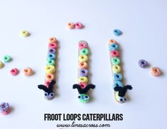 Froot Loops Caterpillars - Lines Across Crafts To Do, Crafts For Kids, Froot Loops, Homemade Paint, Snack Bowls, Night Snacks, Chenille, Teaching Tools, Quality Time