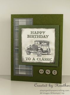 card car classic cars ford transportation travel journey Playing with Papercrafting: Guy Greetings Birthday Card - Sneak Peek, Masculine Birthday Greetings For Men, Birthday Cards For Men, Handmade Birthday Cards, 10 Birthday, Fathers Day Cards Handmade, Cards For Men Handmade, Birthday Images, Birthday Quotes, Birthday Wishes