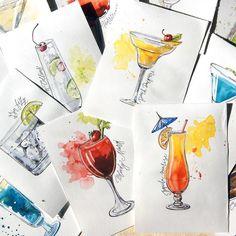 Бесконечная серия:)) все, пора заканчивать #Коктейль#cocktails#акварель#скетч#sketch#sketchbook#акварельонлайн#рисуйкаждыйдень#art_stupenka#drink#barman#sketching#artzone#art#aquarelle#summer#summertime#mojito#mojitos#daiquiri