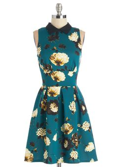Delightful Day Out Dress in Teal by Closet - Floral, Peter Pan Collar, Sleeveless, Variation, Mid-length, Knit, Blue, Multi, Exposed zipper, Pleats, A-line, Exclusives, Collared