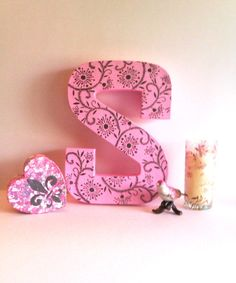 Letter block S  Baby pink S with metallic silver by StarrJoy16, $10.00