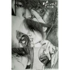 Who drew this it's beautiful Kdrama, Lee Joon Gi Wallpaper, Scarlet Heart Ryeo Wallpaper, Moon Lovers Drama, Sun Projects, Wang So, Kpop Girl Bands, Kpop Drawings, Fanart
