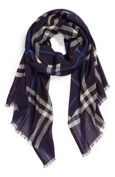 Adding this navy Burberry scarf to the fall wardrobe.