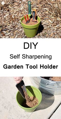 Make a tool holder from a terracotta pot and add abrasive sand, and mineral oil in that. It will not only hold your garden tools as you thrust them in but the sand and mineral oil mixed in it also clean and sharpen them at the same time.