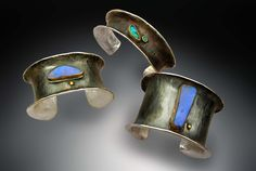 Sterling cuffs with Boulder Opal and accents of 22K gold