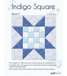 Quilt Block of the Month - Indigo Square Block 7- Indigo Star