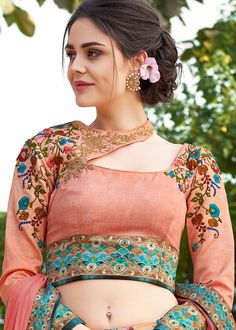 Peach Floral Printed Satin Silk Lehenga Choli Most Loved Styles Saree Blouse Neck Designs, Choli Designs, Fancy Blouse Designs, Designs For Dresses, Dress Neck Designs, Stylish Blouse Design, Bollywood, Clothes For Women, Silk Lehenga