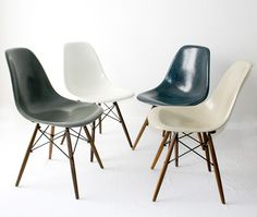 Producer/year Herman Miller, Fiberglass Chair On Walnut Dowel Base. Colors  Greige, Navy Blue, Elephant Grey And White