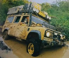 Land Rover Defender 110 Station Wagon 300 tdi Diesel equipped for Camel Trophy 1996 Kalimantan crossing Borneo.