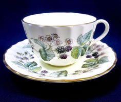 Vintage Royal Worcester Bone China England Lavinia Blackberries Tea Cup & Saucer