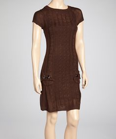 Take a look at this Brow Cable Knit Sweater Dress by She's Cool on #zulily today!