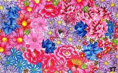 Quadro 'Vírus da Alegria', de Tetê Brandolim; cada peça recebe em média 200 flores de chita. Foto: Arquivo pessoal Prints, Design, Craft, Floral, Floral Prints, Good Ideas, Throw Pillows, Collage, Rolodex