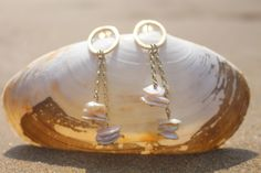 Our Pebble Pearl Earrings from Ardmore Jewellery. Made in our studio by the sea from gold and pebble pearls. Free Shipping Worldwide! #ardmore #ireland #irish #jewellery #earrings #gold #pearl #shell #beach #sea #beautiful #stunning #simple #elegant #classic #pretty