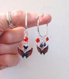 Washington Capitals Earrings Red Navy and Clear Crystal 32 mm Hoop Earrings Pro Ice Hockey Caps Women's Jewelry Bling Accessory Fanwear